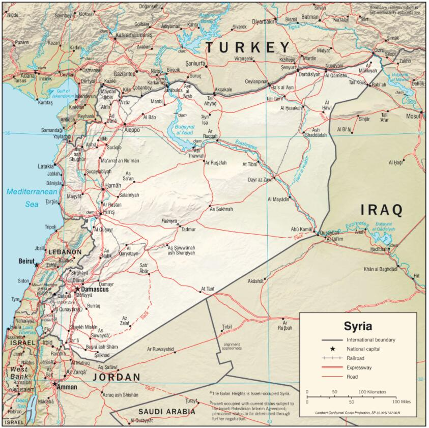 Physical Map of Syria