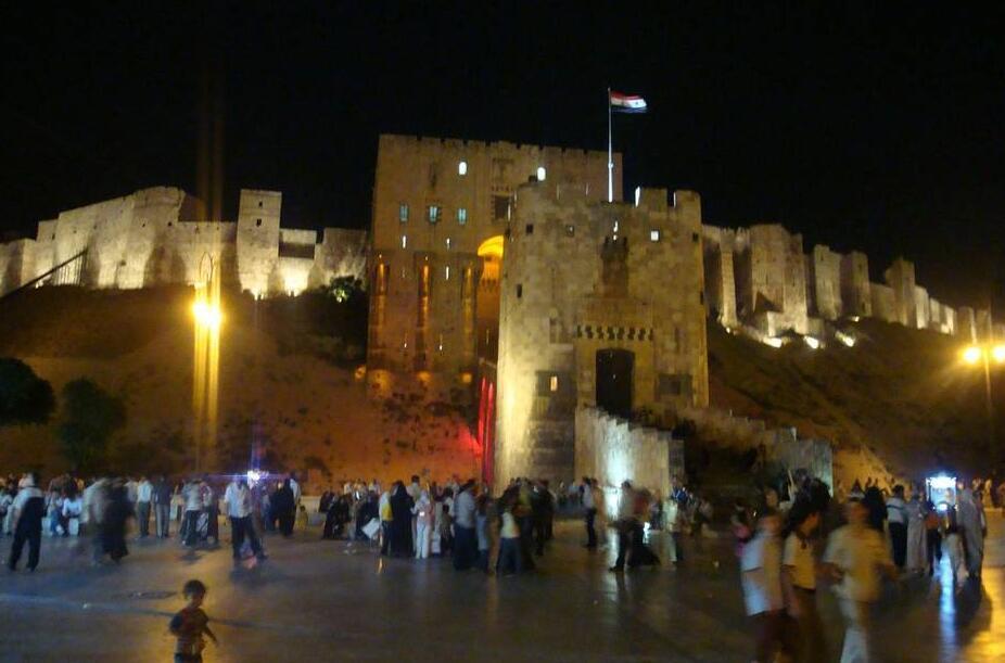 Syria Aleppo Citadel at night