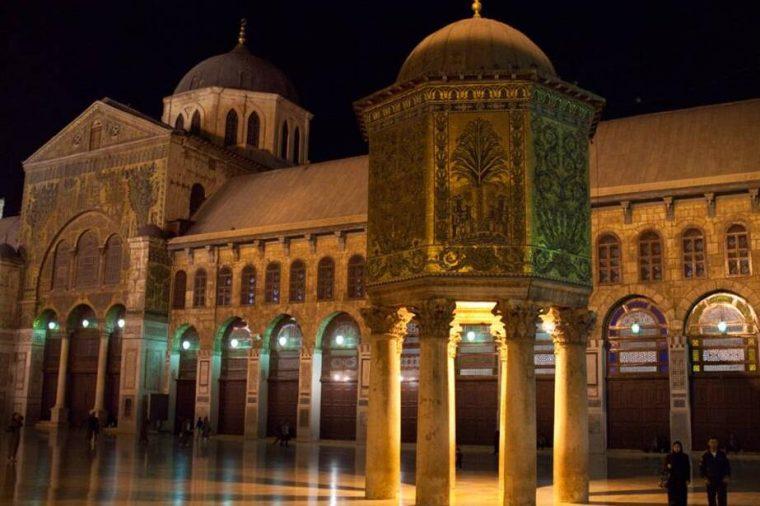 Syria Umayyad Mosque at night