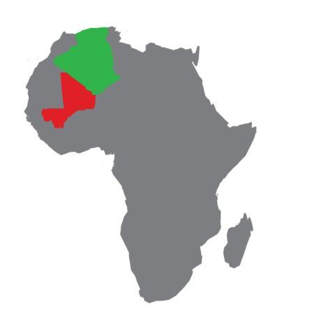Algeria in red, Mali in green